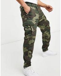 Levi's Pantalon cargo fuselé à imprimé vague - Camouflage - Vert