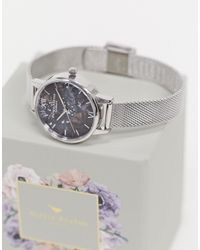 Olivia Burton – Celestial – e Armbanduhr mit Armband aus Netzstoff - Schwarz