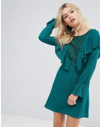 Madam Rage Lace Insert Dress With Ruffle - Green