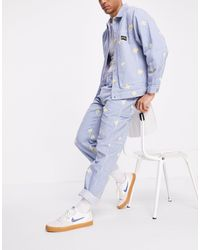 Stan Ray Pantalon style peintre à motif pâquerettes - hickory - Bleu
