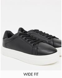 London Rebel Wide Fit Flatform Lace Up Trainers - Black