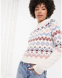Monki Fairisle Print High-neck Sweater - Natural