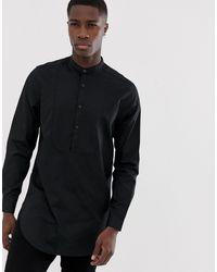 ASOS Camicia lunga nera con pettorina e vestibilità classica - Nero