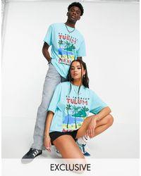 "Reclaimed (vintage) Camiseta color aguamarina unisex holgada con estampado ""tulum"" - Azul"