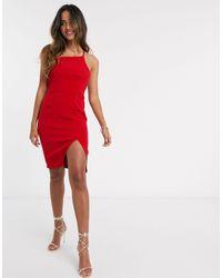 Vesper Красное Платье Мини С Разрезом -красный