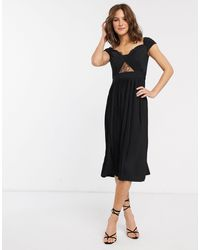 ASOS Premium Lace And Pleat Bardot Midi Dress - Black