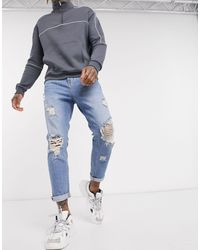 ASOS Tapered Carrot Jeans - Blue