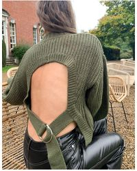 4th & Reckless 4th + Reckless Cropped Backless Jumper With D-ring Tape Fastening - Green