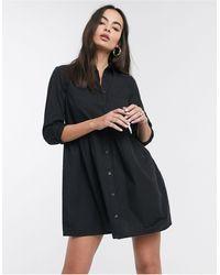 ASOS Robe chemise courte effet froncé en coton - Noir