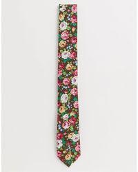 Ben Sherman Cravate fleurie avec épingle - Rose