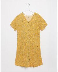 Blend She – geblümtes hängerkleid mit knopfleiste - Gelb