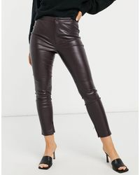 Mango Faux Leather Skinny Trousers - Red