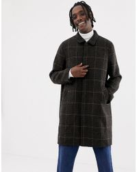 Weekday - Carver Checked Coat In Black Check - Lyst