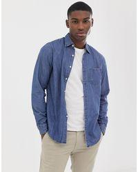 J.Crew Mercantile J Crew - Chemise manches longues coupe classique en jean - Bleu