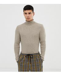 Collusion Skinny Fit Ribbed Roll Neck In Tan Twist - Brown