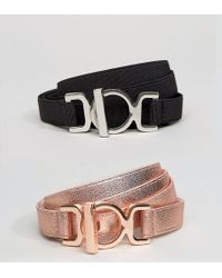 ASOS | 2 Pack Skinny Elastic Waist Belt | Lyst