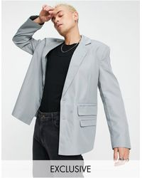 Collusion Oversized Blazer With Pocket Detail - Grey