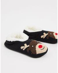 Brave Soul Reindeer Slipper Socks - Black