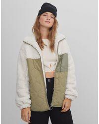 Bershka Двусторонняя Oversized-куртка На Молнии Из Овчины Цвета Экрю -белый - Многоцветный
