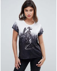 Religion Praying Skeleton Dip Dye Oversized T-shirt - Grey