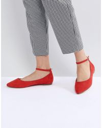 Faith - Allie Red Pointed Flat Shoes - Lyst
