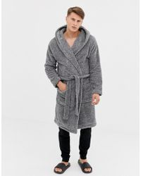 ASOS - Hooded Dressing Gown In Fluffy Grey - Lyst