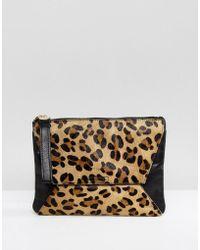 Oasis Leopard Printed Clutch Bag - Multicolour