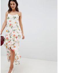 Vila - Floral Printed Wrap Midi Dress - Lyst