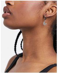 Regal Rose Luna Mini Hoop Earrings With Moon And Star Charm - Metallic