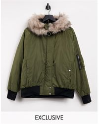 Reclaimed (vintage) Inspired Ma1 Bomber Jacket With Fur Trim - Green
