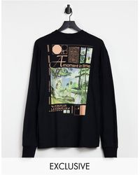 Collusion Unisex Oversized Long Sleeve T-shirt With Print - Black