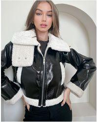 ASOS Черная Укороченная Куртка-авиатор Из Искусственной Кожи - Зеленый