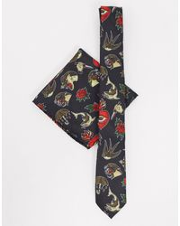 Twisted Tailor Tie And Handkerchief Set - Black