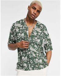 Pull&Bear Shirt With Tattoo Print - Green