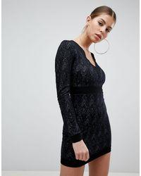 AX Paris Long Sleeve Lace Dress - Black