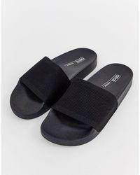 ASOS Flipside Knitted Pool Sliders - Black