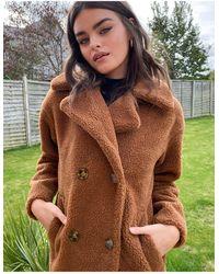 Urbancode Коричневое Удлиненное Пальто Из Искусственного Меха -коричневый - Многоцветный