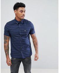 Lacoste - Stripe Short Sleeve Logo Shirt In Navy - Lyst