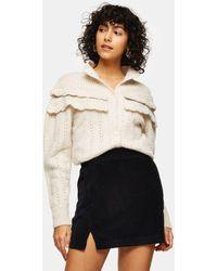TOPSHOP Cord Notch Detail Denim Mini Skirt - Black