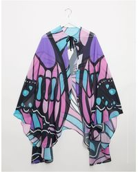 ASOS – Cape mit Schmetterlingsprint - Mehrfarbig