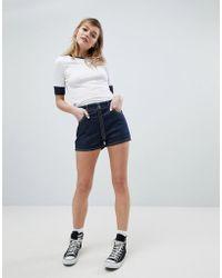 ASOS - Denim Shorts In Indigo With Zip Through Detail - Lyst