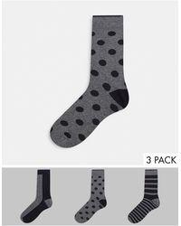 SELECTED 3 Packs Socks Giftbox - Grey