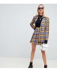 UNIQUE21 Pleated Mini Skirt In Contrast Check Two-piece - Yellow