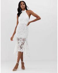 ASOS High Neck Midi Dress - White