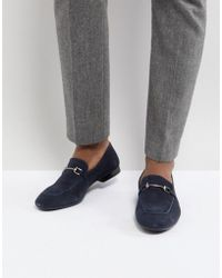 Dune - Bar Loafers In Navy Suede - Lyst