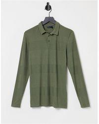 ASOS Long Sleeve Muscle Fit Smart Fancy Rib Polo - Green