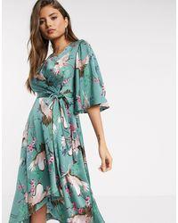 Liquorish Платье Миди С Запахом И Струящимися Рукавами -зеленый