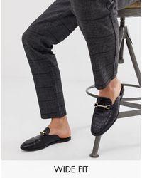 ASOS Wide Fit Backless Mule Loafer - Black