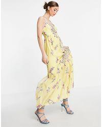 French Connection Flores - Vestito lungo senza maniche giallo