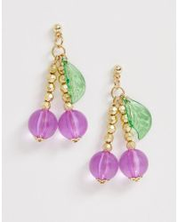 ASOS - Earrings In Resin And Bead Cherry Design In Gold Tone - Lyst